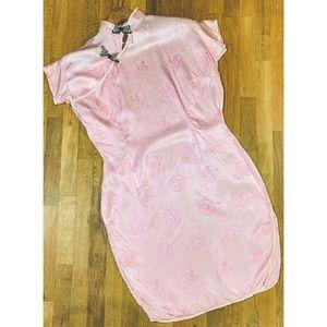Vtg 40's Silk Asian Dress